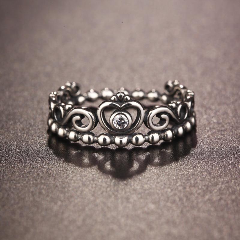 925 Sterling Silber Ringe Für Frauen Königin Prinzessin Crown Ring Hochzeit Modeschmuck Beste Geschenk Für Freundin Anillos Mujer