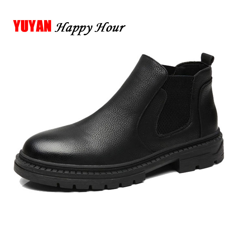 Chelsea Boots Men Winter Shoes Mens Boots Leather Thick Sole Soft Leather Booties Man Black Ankle Boots KA437