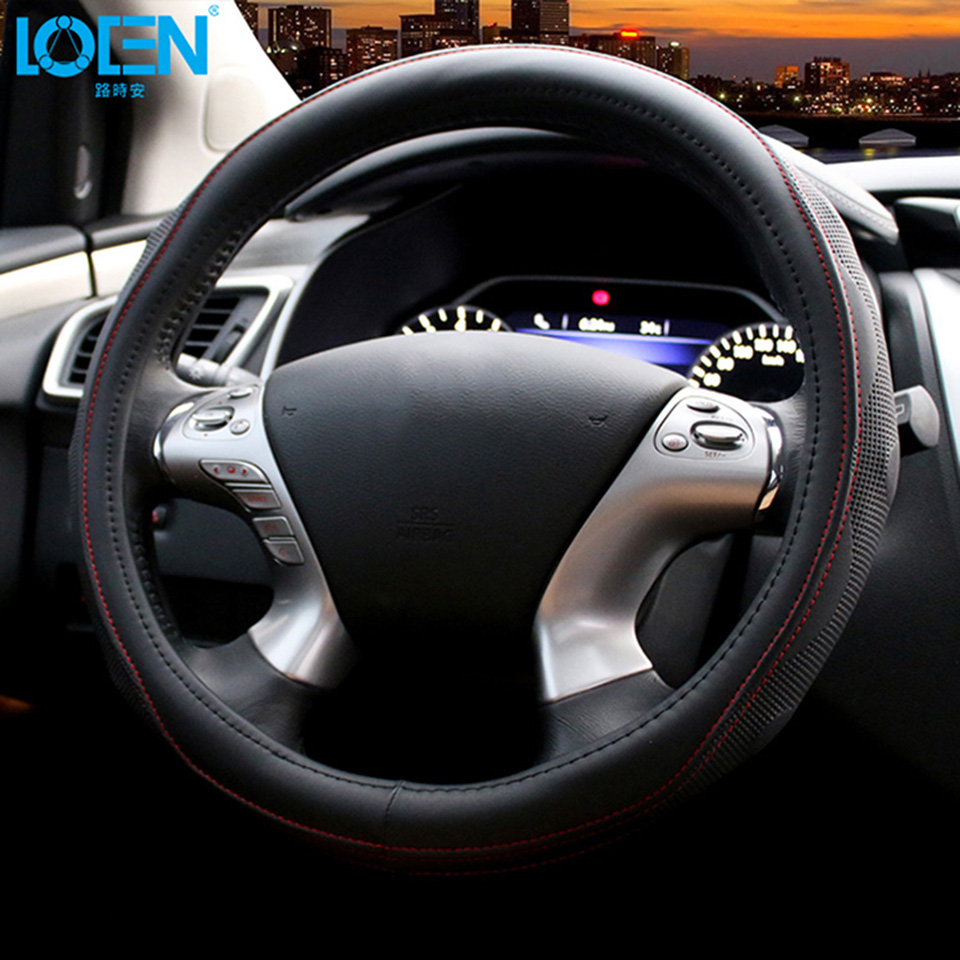 High quality leather anti slip car steering wheel cover stitches vehicle interior accessories car styling
