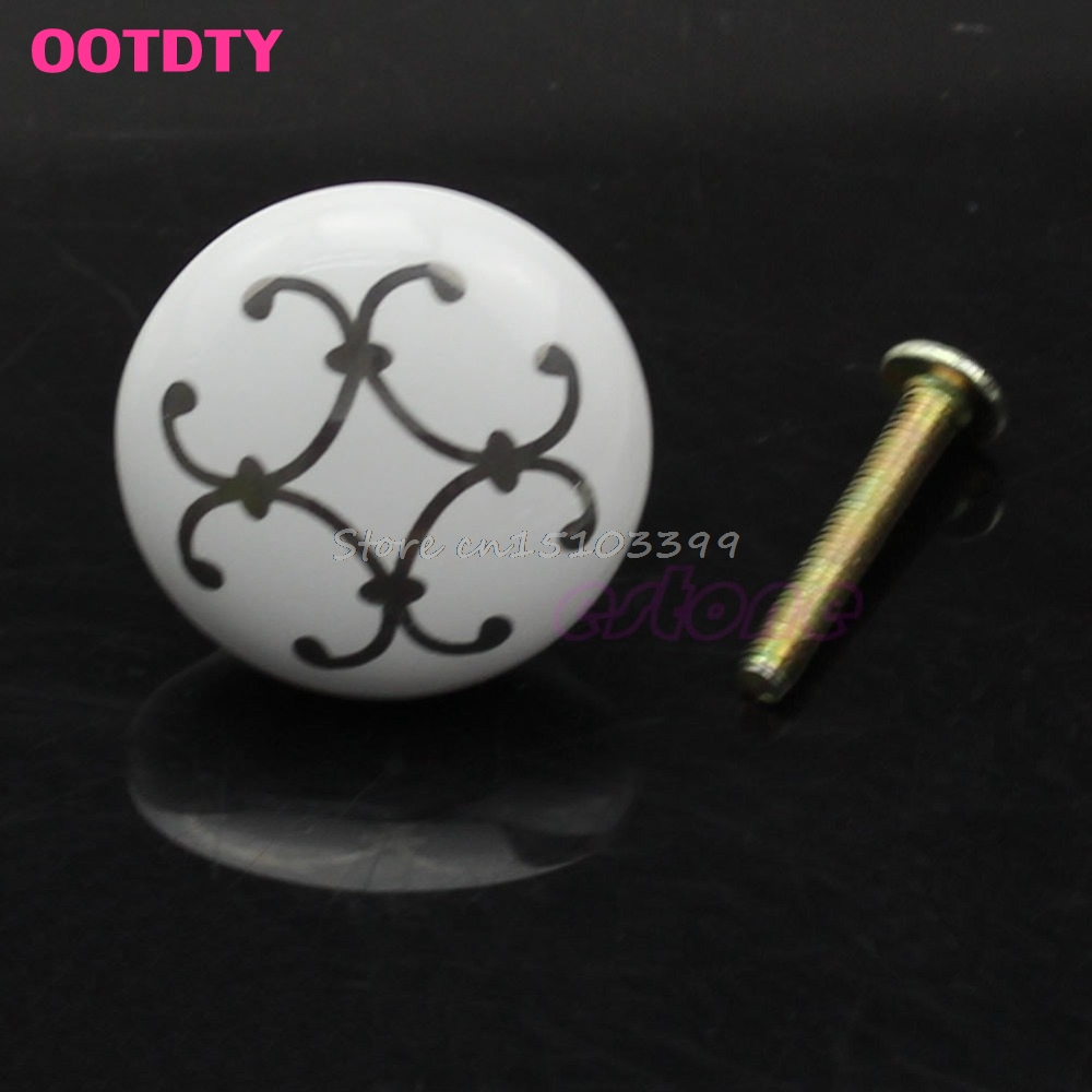 32*25mm Silver Flower Ceramic Knob Cabinet Cupboard Wardrobe Drawer Door Handle Pull #G205M# Best Quality multi color flower rose ceramic kitchen cupboard cabinet door knob kid s room wardrobe drawer pull handle knob