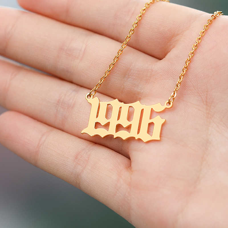 Custom Old English Birth Year Necklace Women Birthday Jewelry Gift Personalized 1991 1992 1993 1994 1995 1996 1997 1998 1999