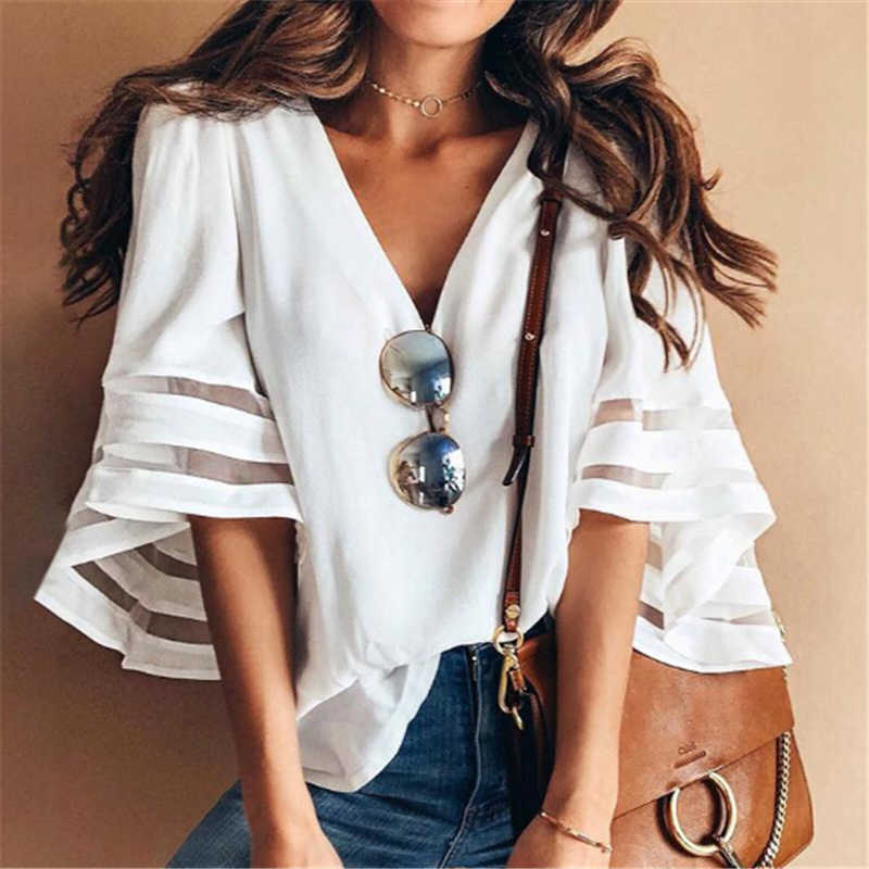 Women Loose Blouses Office Lady Costume Kimono Chiffon Shirts Fashion Sexy V-Neck Blouse Hollow Out Flare Sleeve Shirt Outerwear