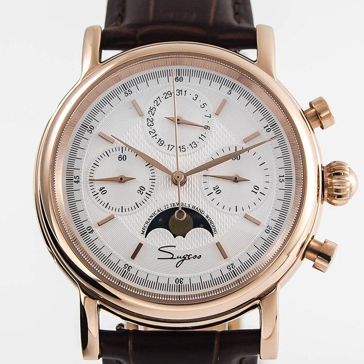 Mvt Mens Chronograph Relógio Mecânico gaivota Lua phace Calendário mão enrolamento