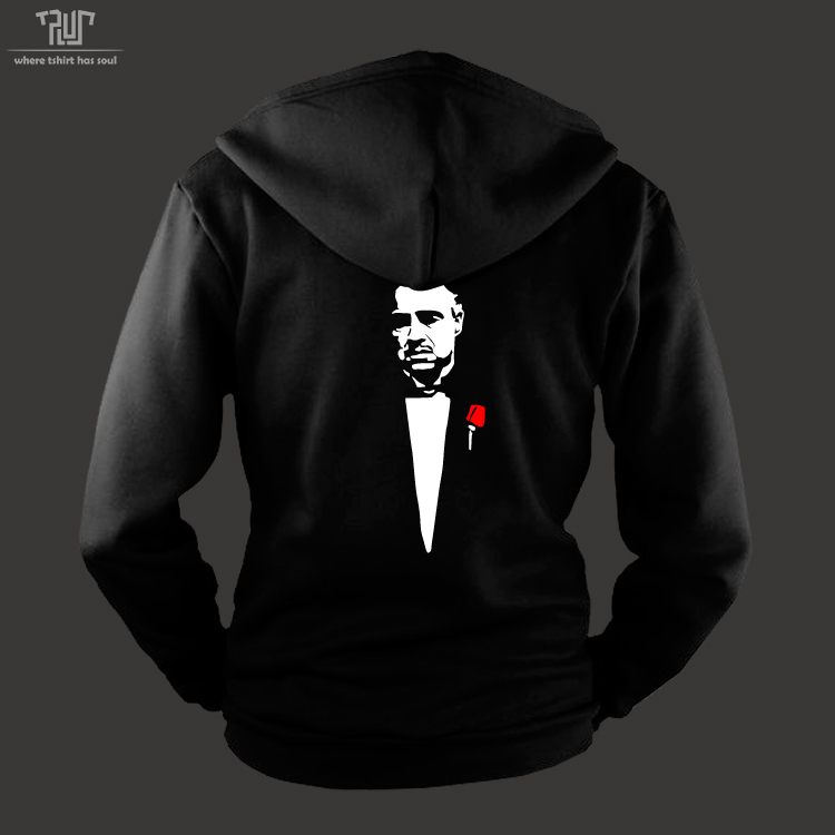 Godfather font b hoodie b font font b men b font unisex zip up sweatershirt heavy