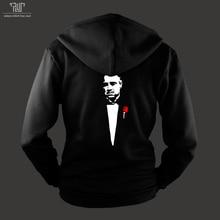 Godfather hoodie men unisex zip up sweatershirt heavy hooded 800g weight organic cotton outside fleece inside Free Shipping