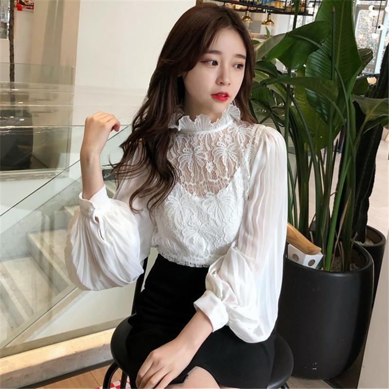 35139 White Mujer 35139 Moda Manga 2019 De Larga Camisa Primavera Dulce Black Perspectiva Neploe 2 Plisado Encaje Conjuntos Cuello Blusa Alto Piezas Camisas 8HxR6dq1Ow