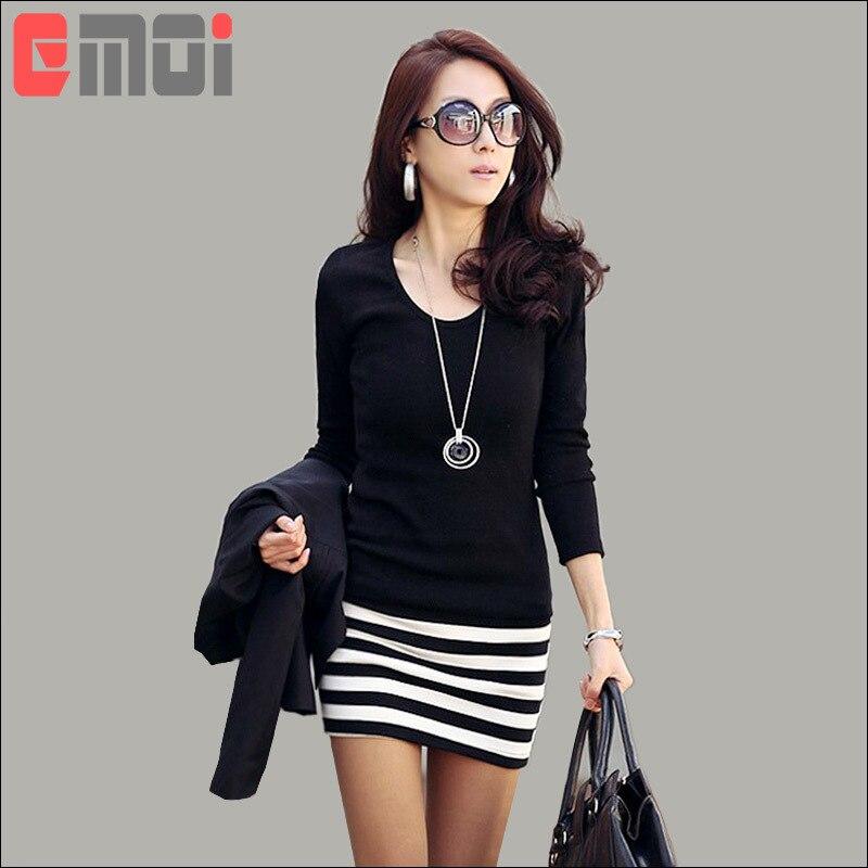 Mini Vestido Casual Mujeres Vestidos Negro Rayas Blancas Y