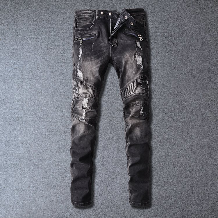 European American Style Fashion Brand Black Men Jeans Luxury Mens Casual  Denim Trousers Hole Slim Straight Biker Jeans For Men