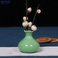 중국 도자기 꽃병 미니 장식 꽃병 Longquan의 청자 Ge
