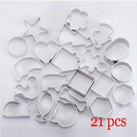 Wholesale Free Shipping 21pcs Set Alu Different Shape Cookies Cutter Mold Alloy Cake Rice Mold Pastry