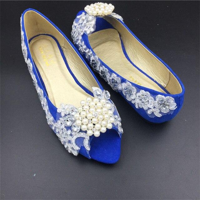 7989353c8b1ff Royal Blue Women Wedding Shoes,Girls Open Toe blue ballet flats,blue lace  Crystals bridal shoes,us size 12.5,1,2,,3,4,5,6,7,8,9