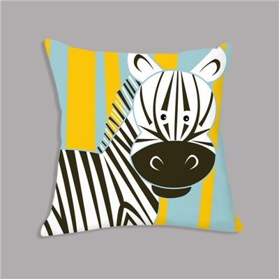 Cartoon Giraffe Lion Elephant Animal Printed White Plush Seat Cushion Throw Pillow 45x45cm Decorative Cushion Sofa Kids Room