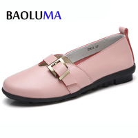 Baoluma Autumn Summer Women Sneakers Shoes Women Flat Boat Shoes Buckle Genuine Leather Rubber Creepers Ladies