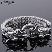 Hiphop Rocker Man Bracelet Men Stainless Steel Dragon Head Mens Bracelets & Bangles Wrist Hand Chain Friendship Jewellery Gifts