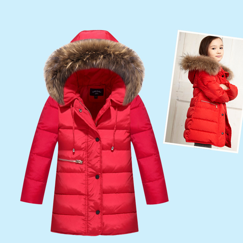 2018 Winter Thick Children Long Sections Duck Down Jacket Kids Girls Down Jacket For Winter Hooded Collar Outerwear Coat winter girl jacket children parka winter coat duck long thick big fur hooded kids winter jacket girls outerwear for cold 30 c