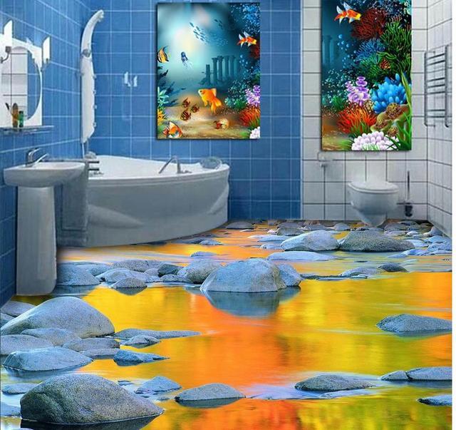3d Tapety Stereoskopowe 3d Kamień Woda łazienka Płytki Podłogowe