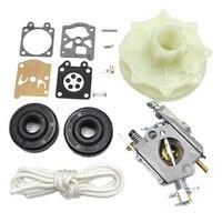 Carburateur Carte Kit De Réparation Vilebrequin Joint D'huile Démarreur Poulie Kit Pour Partenaire 350 351 370 371 420 Tronçonneuse