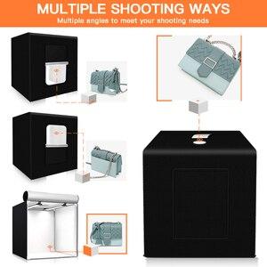 Image 5 - Travor 사진 스튜디오 라이트 박스 60 cm 48W 사진 라이트 텐트 탁상 촬영 소프트 박스 3 색 배경 사진 상자