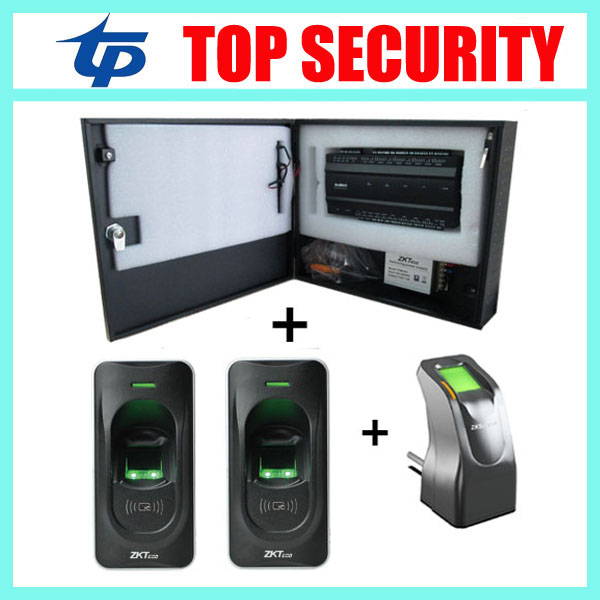 Fingerprint access control panel card access control board with TCP/IP 2pcs fingerprint reader pretect box and power supply good quality fingerprint access control with smart rfid card reader mini power supply and 600lbs magnetic lock
