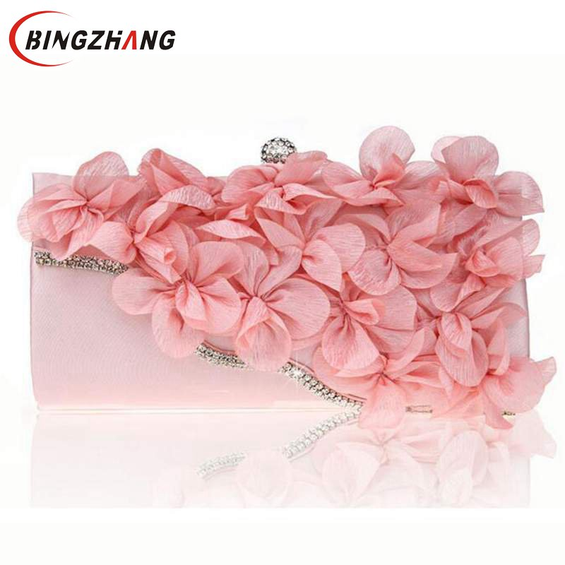New Women s Flowers Bags Fashion Design Diamond Flower Party Evening Bags Wedding Small Clutch Purse