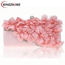 Neue frauen Blumen Taschen Mode-Design Diamant Blume Partei Abendtaschen Hochzeit Kleine Kupplung Geldbörse Kette Umhängetasche L4-2726