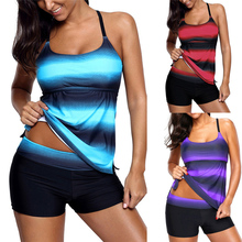 VOWDA Womens Color Block Striped Plus Size Tankini Swimsuits With Boyshorts Swimwear M-4XL