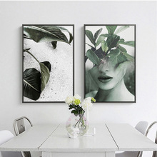 Creative Wall Canvas Art Leaf Women Abstract Decorative Painting Nordic Simple Landscape Bedroom Living Room