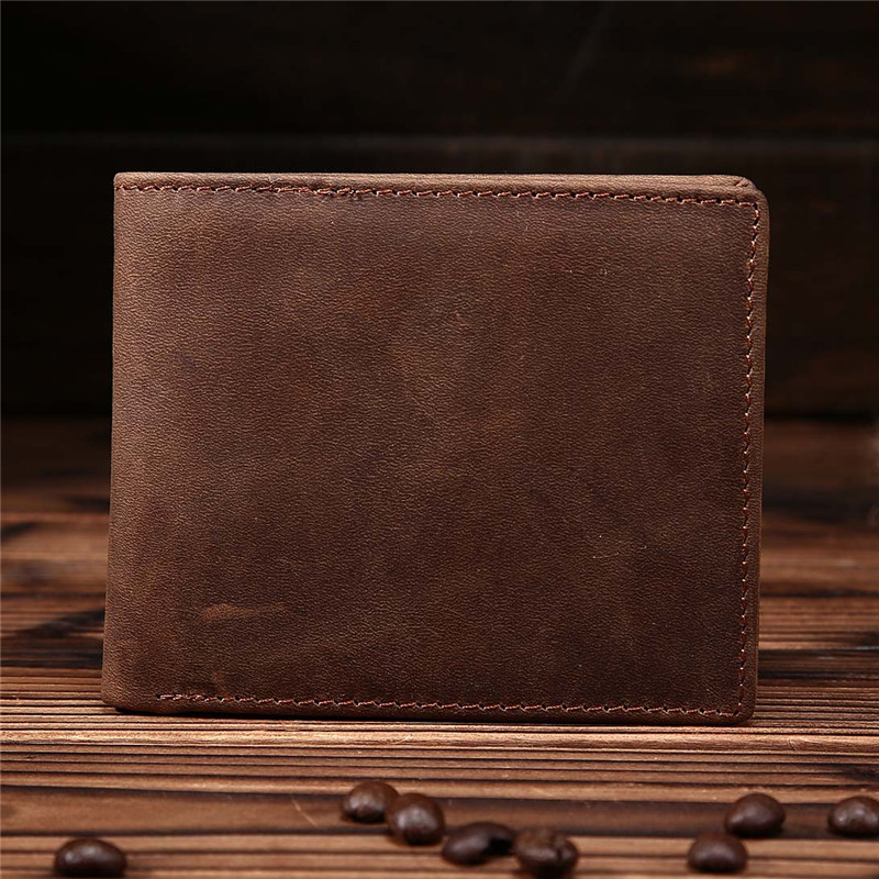 Neweekend retro Crazy Horse Genuine Leather Men short Wallet Slim Zipper Coin Card Purse Man Male Masculine Billeteras 8047 crazy horse leather billfolds wallet card holder leather card case for men 8056r 1
