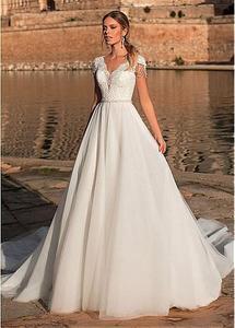 Image 2 - Graceful V neck A line Wedding Dress Appliques Custom Made Tulle Gowns Short Sleeve Illusion Back Bridal Dresses