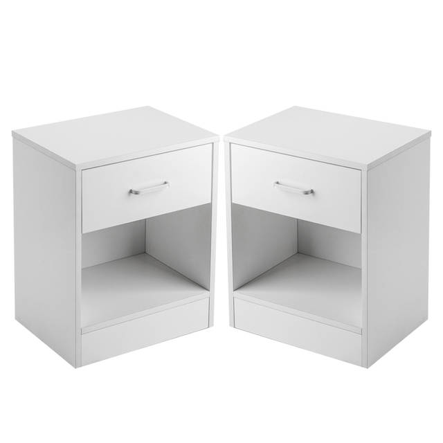 US 2 X Bedside Table Nightstand With Drawer Bedroom Furniture Storage Black White US Shipping In Nightstands From Furniture On