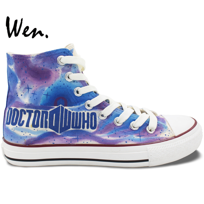 ФОТО Colorful High Top Personalized Shoes Doctor Who Tardis Men Women Unique Birthday Gifts Hand Painted Canvas Sneakers Art Wen