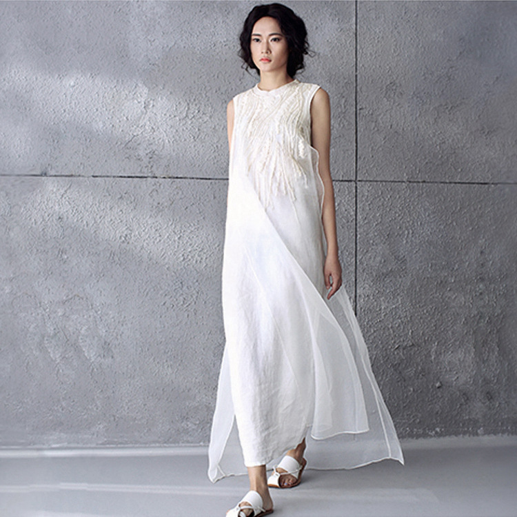 681d6d4bc2f Summer Style Solid White Silk Embroidery Chiffon Sleeveless Women Dress  Brand Casual Loose Vintage Long Maxi Dresses-in Dresses from Women s  Clothing on ...
