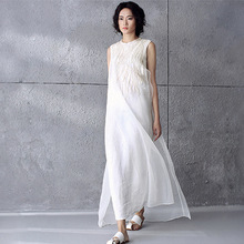 Summer Style Solid White Silk Embroidery Chiffon Sleeveless Women Dress Brand Casual Loose Vintage Long Maxi Dresses