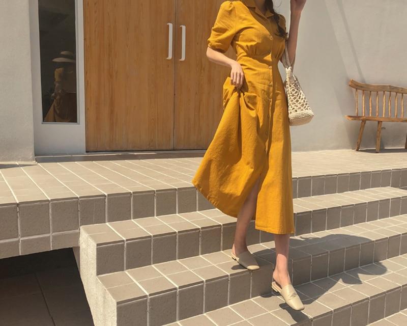 Retro Lady Style a Line Long Dress Puff Sleeve Slim Waist Long Dress Summer Elegant Robe Longue Vestido Largo Vestiti Lunga 12