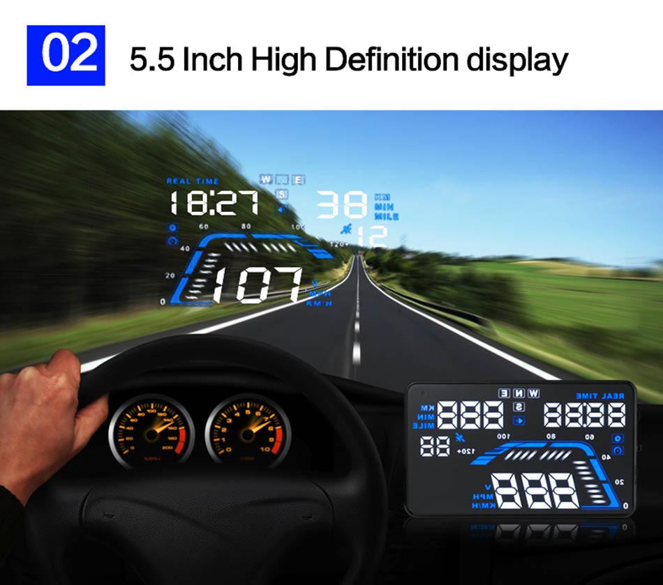 Universal Q7 5.5 Auto Car HUD GPS Head Up Display OBD II 2 Overspeed Warning Alarm Dashboard Windshield Project Speedometers-6