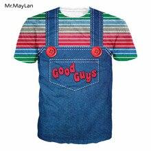 Letters Good Guys Fake Two Piece Strap Bib Print 3D T shirt Men/Women Casual Fashion Streetwear Tshirt Kawaii T-shirt Clothes майка борцовка print bar good guys