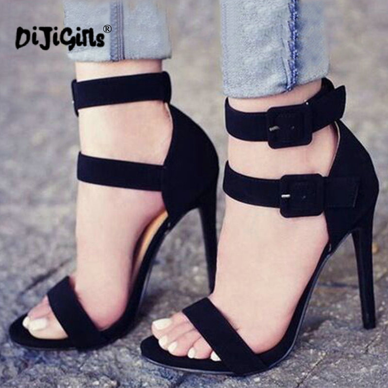 4dd176132cf5 dropship Thin Heel Sandals Women Concise Design Line Buckles Style Open Toe  Stiletto Heel Dress Sandals Pretty Shoes Black