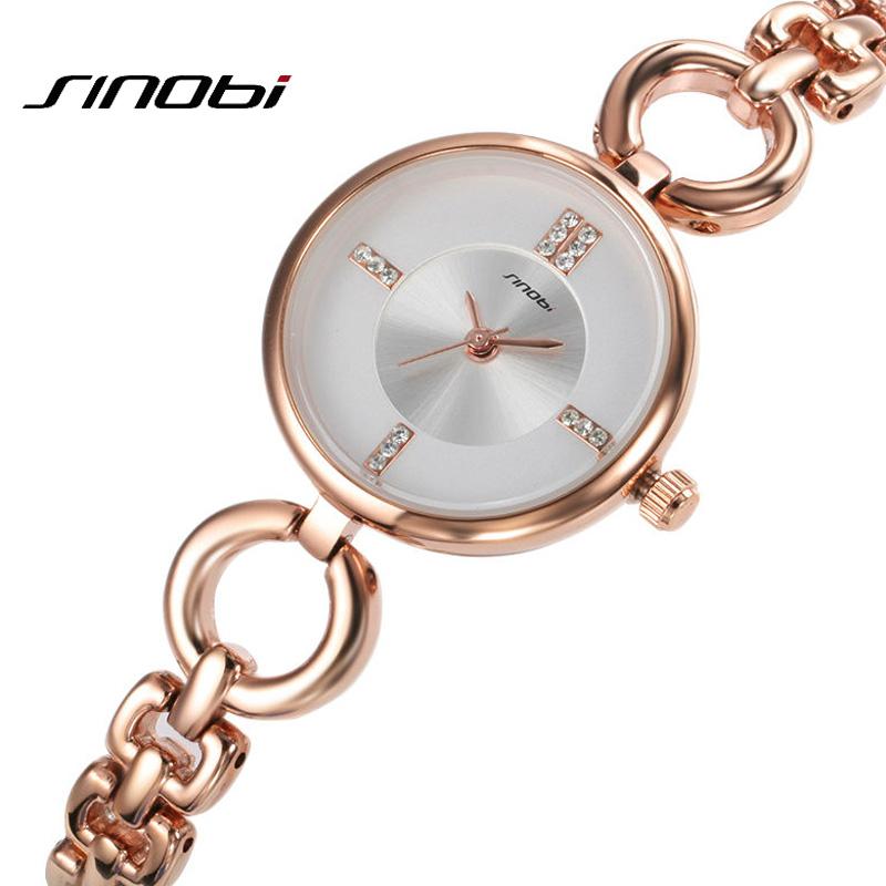 Prix pour Relojes mujer 2016 De Luxe Or Rose horloge À Quartz femme Femmes Montres Dames Argent Robe fille Bracelet Montre-Bracelet Sinobi Marque
