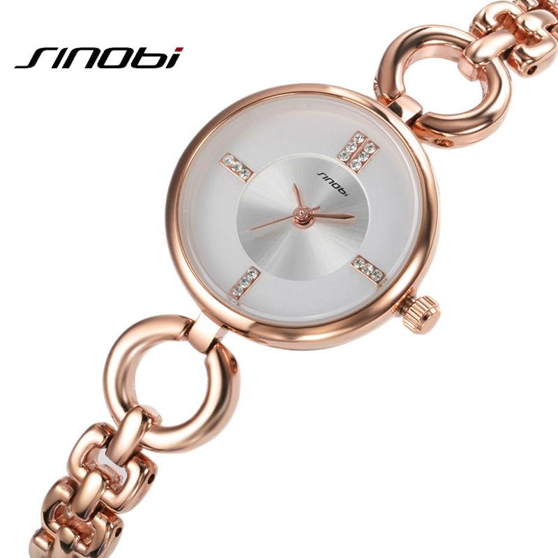 все цены на  Relojes mujer 2016 Luxury Rose Gold clock female Quartz Women Watches Ladies Silver Dress girl Bracelet Wristwatch Sinobi Brand  в интернете