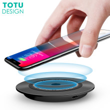 Qi Wireless Charger Pad, TOTU 10 W Cepat Pengisian Nirkabel Untuk iPhone X 8 Ditambah Samsung Galaxy Catatan 8 S8 S9 Plus S7 Desktop Charger(China)