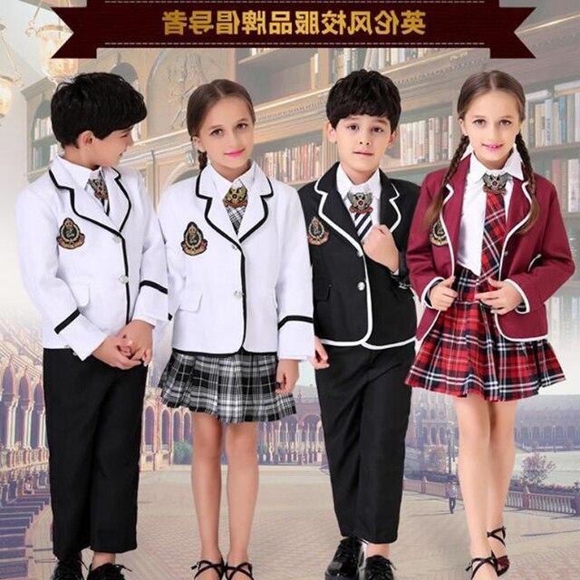 4 шт. Детская школьная форма одежда Обувь для мальчиков с длинными рукавами хор ученики начальной школы британские студенческие школьная фо...