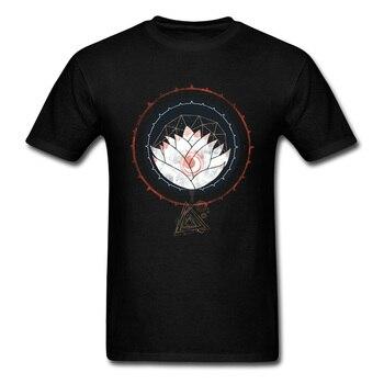 Lotus koszulka męska Floral T koszula buddyzm Tshirt hinduizm topy i koszulki dla dorosłych ponadgabarytowych ubrania bawełniane czarny Drop Shipping