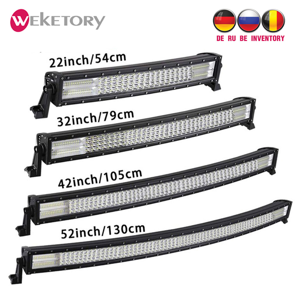 Weketory 22/32/42 pouces Courbe LED Bar Quad Rangée LED Travail Light Bar pour Tracteur Bateau OffRoad 4WD 4x4 Voiture Camion SUV ATV