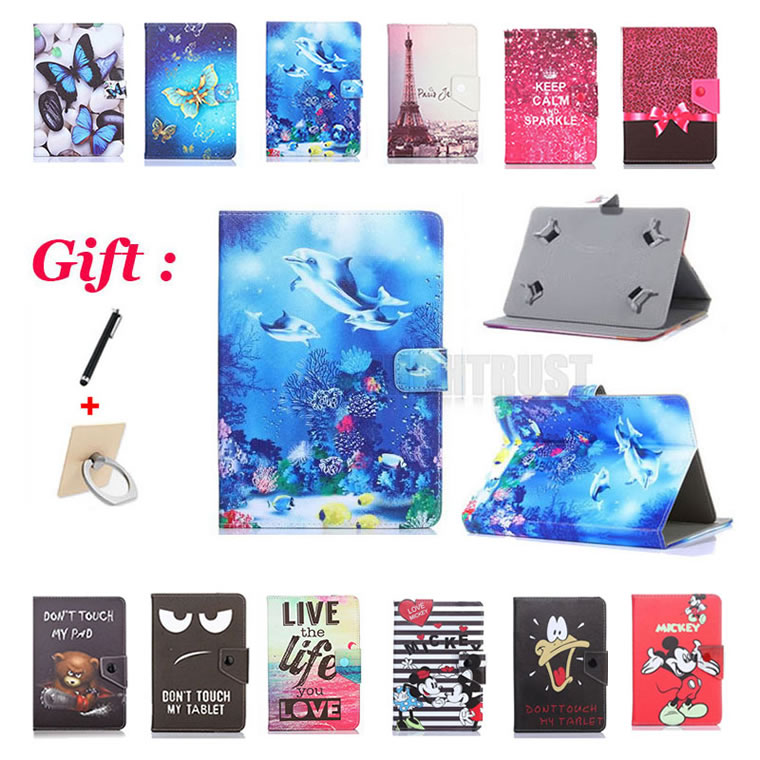 Universal 9.7 inch Cartoon Pu Leather Stand Case for iPad 2 3 4 A1395 A1396 A1416 A1430 A1458 A1460 9.7 Tablet Cover + 2 Gifts image