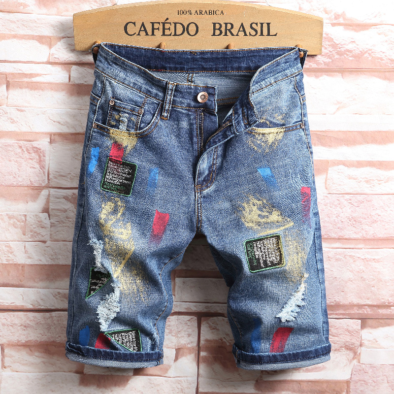 High quality new mens hole denim jeans shorts men summer straight slim knee length patch ...