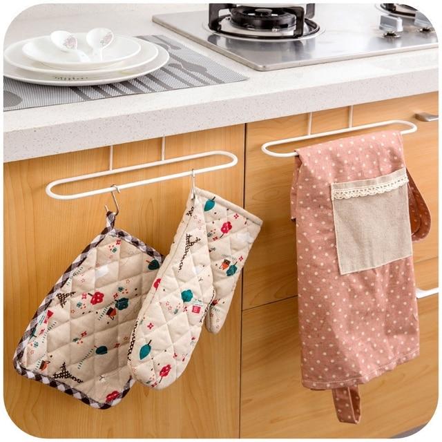 New Cabinet Cupboard Over Door Hanging Towel Rack Holder Cloth Shelf Towel  Rail Bathroom Kitchen Accessories