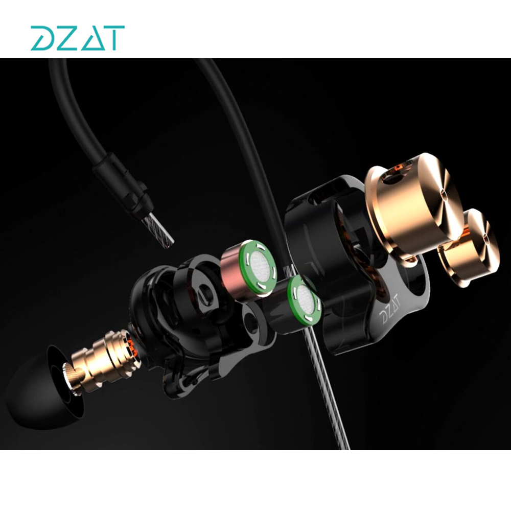DZAT DT05 Sports Earphone Wired Bass Earphone Headset with Mic HiFi Stereo Earbuds for Xiaomi Mobile Phone Iphone wired earphone with mic dual drive gaming headset stereo bass music earphones inear running sports earbuds for iphone for xiaomi