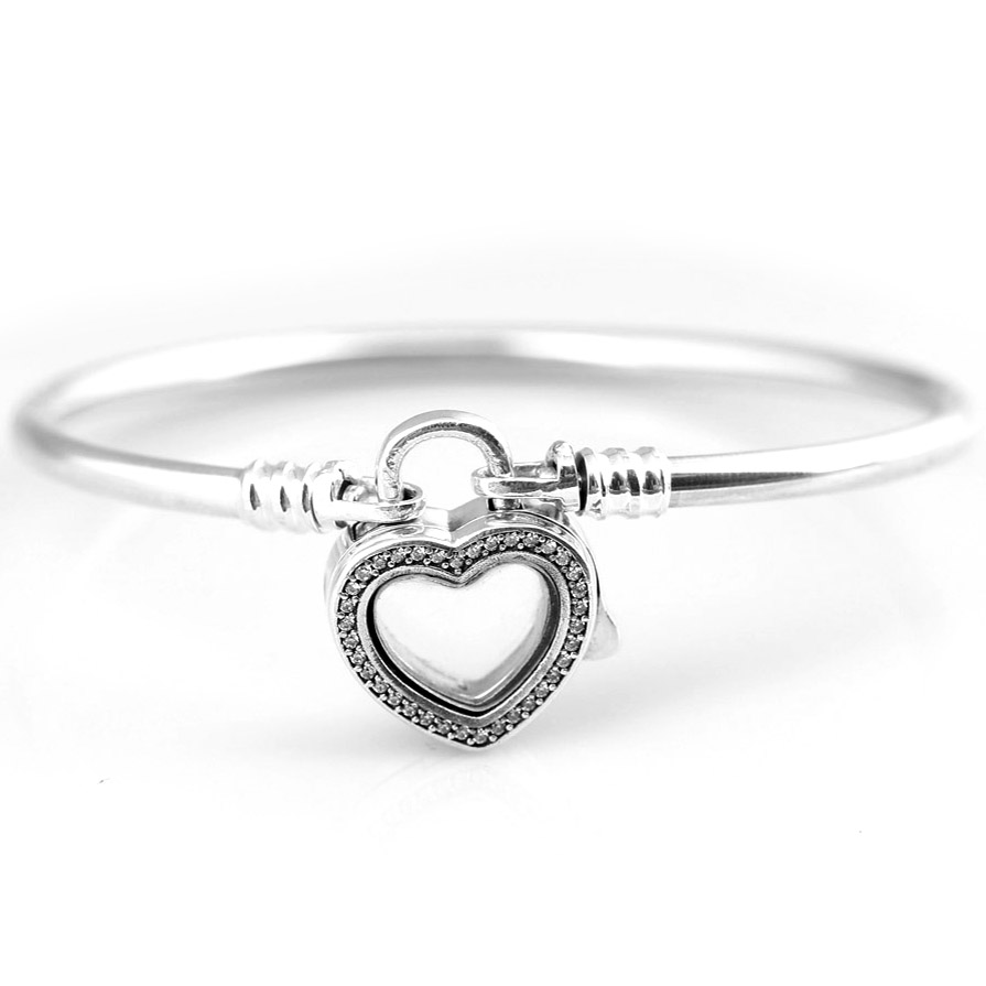 New 925 Sterling Silver Bangle Pave Love Heart Locket Snake Chain Bracelet Bangle Fit Women Bead Charm DIY Pandora Jewelry bisaer 7pcs 925 sterling silver heart key and locket heart pendant brand charm bracelet for women wedding silver bangle gxb811