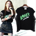 Spring Summer Adult Hollow out top hip hop dance wear costume Black cutout  clothing Mesh Sexy perspectivity Strapless t-shirt