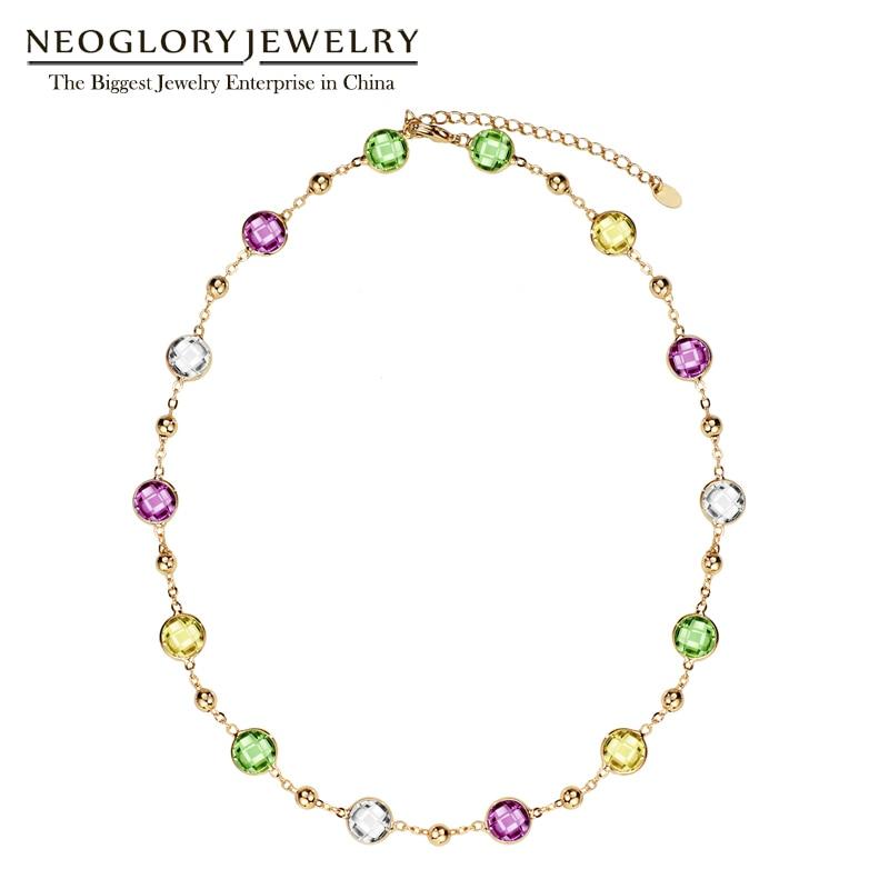 Neoglory ساخته شده با عناصر SWAROVSKI کریستال های زنجیره ای نور زرد چوکر زنجیر ماکسی گردنبندهای بلند برای هدیه روز ولنتاین